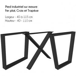 Pieds de table en acier brut style industriel artisanal /& sur mesure Lot de 2