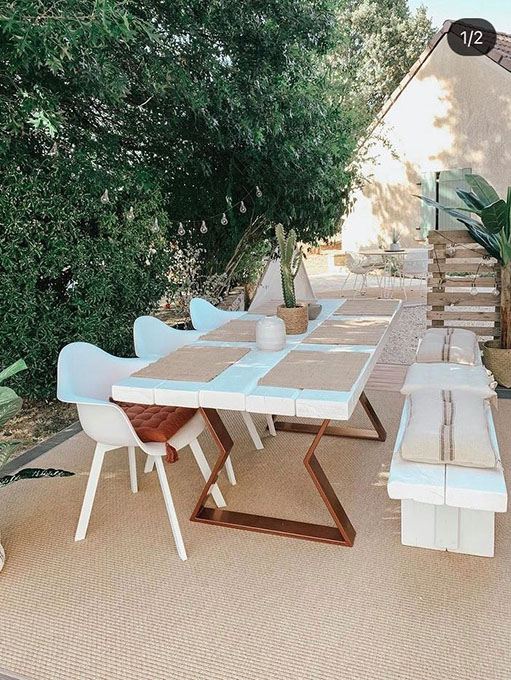 Table de jardin cuivre pied sablier