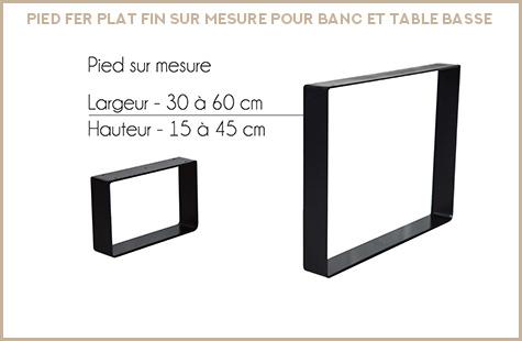 Produit fer plat sur mesure fin pour banc et table basse
