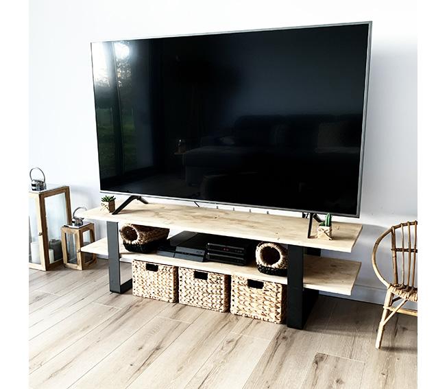 Meuble TV à double étage noir